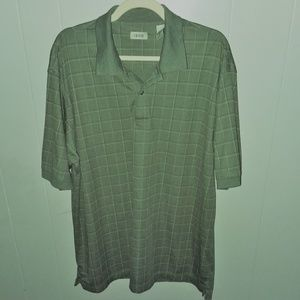 IZOD Men's Dark Green Plaid Polo Shirt Size XL